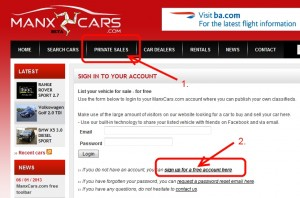 Register account to sell your car