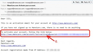 Click the link in the account activation email