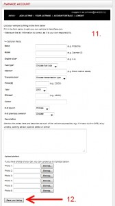 Fill in the form with the details for the vehicle you want to sell